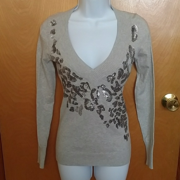 Express Sweaters - Express gray/silver sequin pullover - XS, like new